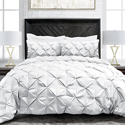 Sleep Restoration Pinch Pleat 2-Piece Luxury Goose Down Alternative Comforter Set - Premium Hypoallergenic All Season Pintuck Style Duvet Set - Twin/Twin XL - White (White Pintuck Set Comforter)