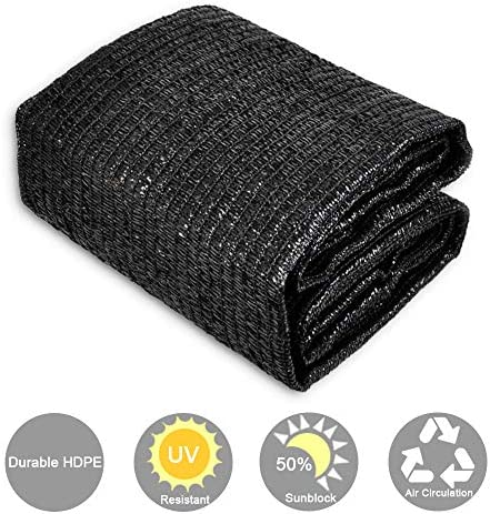 CERBIOR Sunblock 50 Shade Cloth Sun Net UV Resistant, Garden Shade Mesh Fabric for Patio, Plant Cover, Greenhouse, 6x50ft, Black