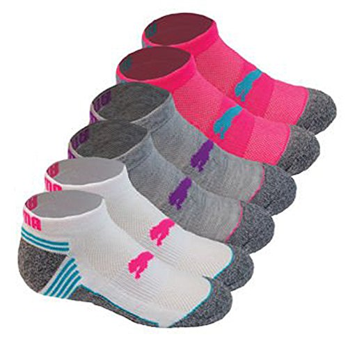 Puma Socks All Sport Cushioned Low Cut - 6 Pack Shoe Size 4 - 9.5 (White/Grey/Pink)