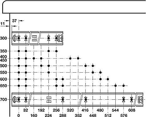 Teleskopschiene f/ür aufliegende Montage Schwerlast-Ausz/üge f/ür K/üchen-Schr/änke Schienen Tragkraft bis 60 kg 1 Paar Gedotec Schubladenschienen Vollauszug 550 mm Kugelf/ührung ACCURIDE 5517-60