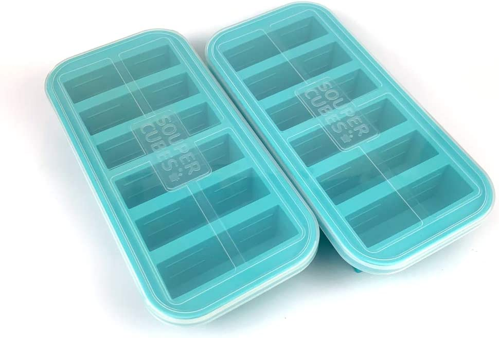 Souper Cubes 1/2 Cup Freezing Tray with lid, Pack of 2, makes 12 perfect 1/2 cup portions, freeze pesto, salsa, or sauce