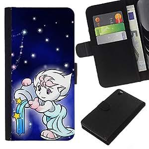 KLONGSHOP // Tirón de la caja Cartera de cuero con ranuras para tarjetas - Lindo de la fantasía - HTC DESIRE 816 //