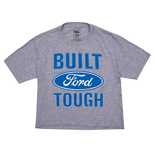 Vintage Ford Ladies Ford Crop Top Shirt - Ford Ladies Fashion Clothing Mustang (Heather Grey, Small) (Best Mustang Ever Built)