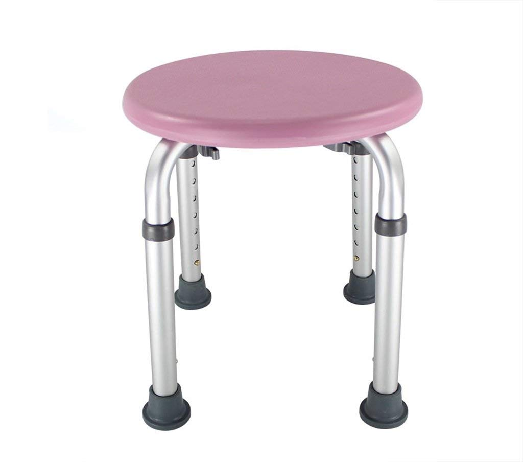 Household Circular Bath Stool Shower Seats Stool Adjust 7 Heights Elderly/Disabled/Pregnant Women with Handle Bath Chair Bariatric Tub Transfer Bench (Color : Pink)