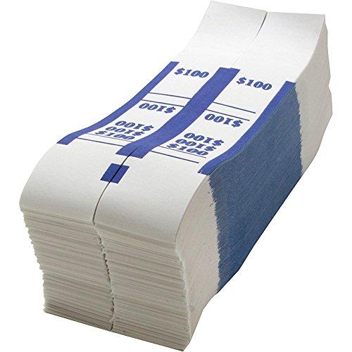 Sparco Bill Strap, 100, 1000 per Box, White/Blue (SPRBS100WK)
