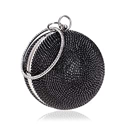 Ball Shape Clutch Purse With Black Rhinestone & Ring Handle