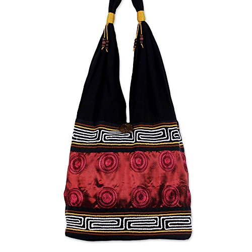 (NOVICA Red and Black Cotton Silk Blend Shoulder Bag, Crimson Wine')