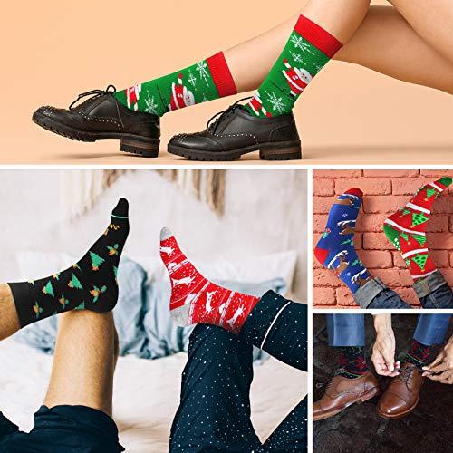 Mens Christmas Socks Funny Crew Socks for Men&Women Colorful Novelty Patterned Socks 6 Pairs US 7-13