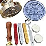 FQL Deathly Hallows Symbol Vintage Rosewood Wax Seal Stamp Set With Gold Red Silver Sticks