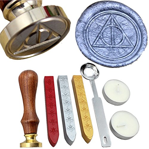 (FQL Deathly Hallows Symbol Vintage Rosewood Wax Seal Stamp Set With Gold Red Silver Sticks)