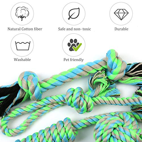 PrimePets Dog Rope Toys for Puppies Small Dogs, Pack of 6, Interactive Tug of War Dog Toys, Durable Dog Chew Toys, Tough Teething Toys Assortment