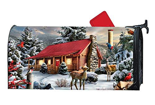 (Christmas Card Magnetic Mailbox Cover Mailbox Wrap with Decorative Illustration, Standard Size)