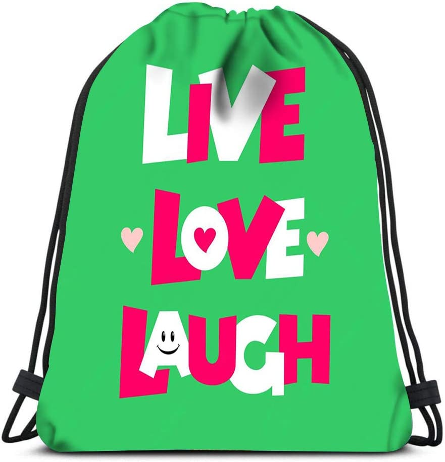 Drawstring Backpack Live Laugh Love Template Green Laundry Bag Gym Yoga Bag