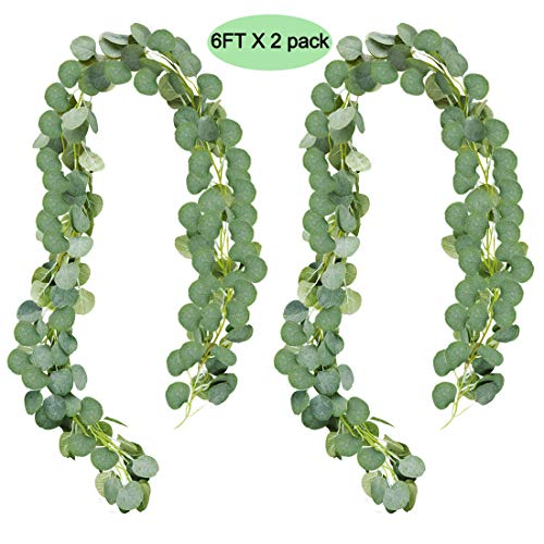 UNIQOOO 6 Feet Eucalyptus Garland, Artificial Greenery Wedding Vines | Faux Flower Wreath | Wedding Backdrop, Greenery Table Runner, Arch Decoration Photo Booth Decor, Pack of 2 -