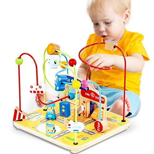Large Wooden Bead Maze First Toddlers Learning Toy Activity Center Educational Toys for Baby (activity center) (Large Bead Maze)