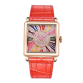 Matisse Damen Fashion Full Kristall Zifferblatt Lederband Quarzuhr Armbanduhr – rot