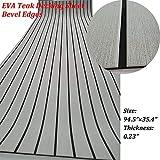 yuanjiasheng Second Generation Upgrade EVA Faux Teak Decking Sheet For Boat Yacht Non-Slip 94.5''× 35.4'' Bevel Edges (light grey with black lines)