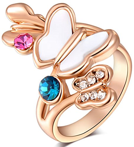 - TEMEGO 14K Rose Gold Colorful Crystal CZ Butterfly Rings for Women Girls,White Enamel Cute Anime Ring