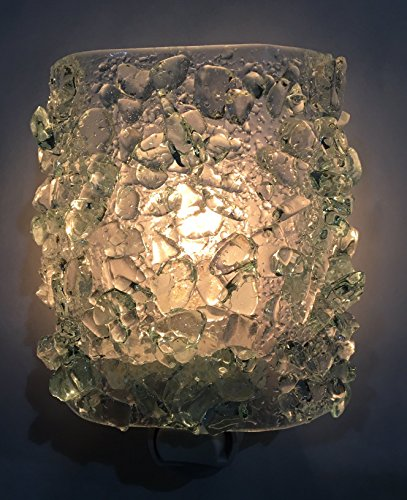 Glass Glitzy (ICE CRYSTAL Recycled Bottle Glass Artistic Handmade Fused Sparkling Night Light Nightlight Nitelite)
