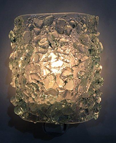 Glitzy Glass (ICE CRYSTAL Recycled Bottle Glass Artistic Handmade Fused Sparkling Night Light Nightlight Nitelite)