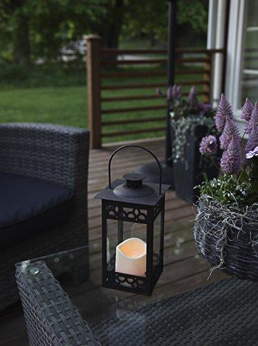 Romantisch dekorative LED Laterne 30 cm x 12 cm aus Metall und Glas - mit LED - Kerze flackernd - in dunkelbraun - inklusive Timer, für Innen und Außen - Bereich - OUTDOOR - NEU - aus dem KAMACA-SHOP