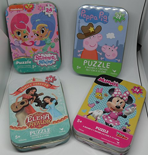 (Bundle Set of 4 GIRLS Mini Jigsaw Puzzles: Minnie Mouse, Shimmer and Shine, Disney Princess Elena of Avalor (and Isabel), Peppa Pig in Collectible Illustrated Travel Tins/Cases)