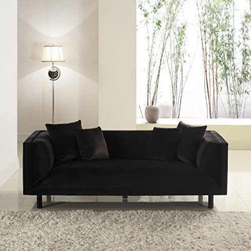 Divano Roma Furniture Modern Contemporary Velvet 3 Seater Sofa - Black