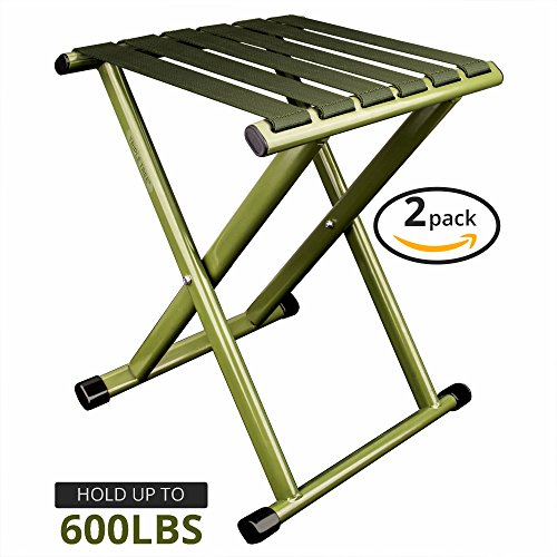 TRIPLE TREE Portable Folding Stool, Super Strong Heavy Duty Outdoor Folding Chair Hold up to 650 lbs, Unfold Size 13.9(L) x14.3(W) x17.8(H) Inch Pack of Two (Large)