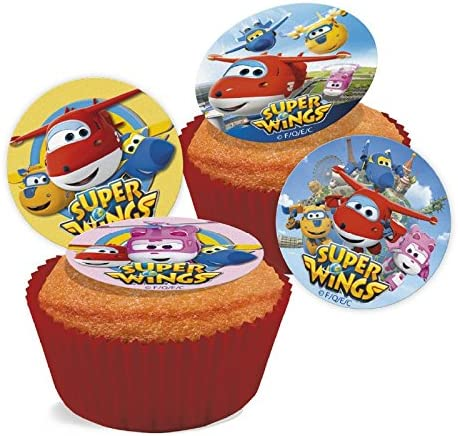 Super wings Cupcake Topper comestible discos Pack de 16: Amazon.es: Hogar