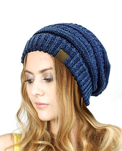 Multicolor Warm Cable Knit Thick Slouch Beanie Cap, Blue/Denim (Blue Knit Beanie Cap Hat)