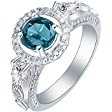 Fashion Women Jewelry Rhinestones Crystal Blue Zircon Wedding Engagement Rings WelcomeShop (8)