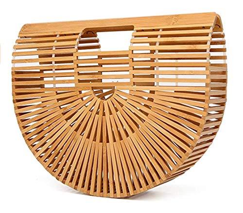 Summer Bamboo Beach Bag Wooden Handmade Tote Womens Straw Tote Bag Womens Basket Bag Large Tote Bag Beach Bag for Women (Handbag Picnic)