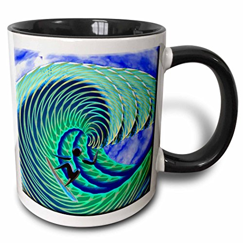 - 3dRose 108139_4 Cool Wave And Surfer Art Mug, 11 oz, Black/White