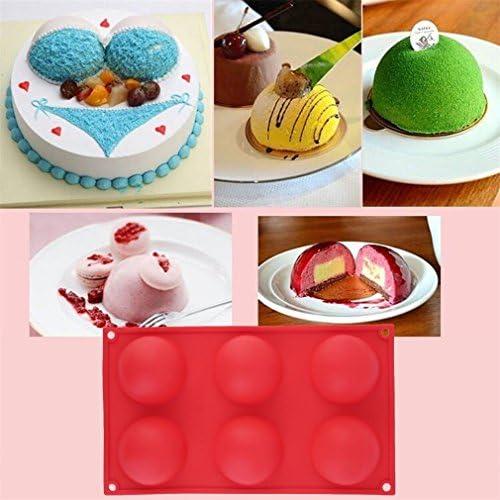 kingsea rojo 6 media bola redonda para tarta Chocolate Candy jabón molde Flexible molde de silicona para hacer jabón, tartas, magdalenas, banana-bread, queso, pan, Cupcake, Cornbread, Brownie, galletas y más: Amazon.es: Hogar