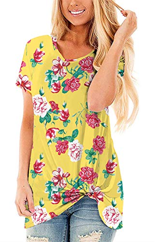 (onlypuff Casual Round Neck Side Knot Twisted Comfy Short Sleeve Flower Printed Yellow Tee XL)