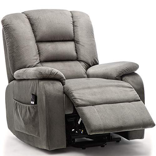 Harper&Bright Designs Oversize Heavy Duty Power Lift Recliner Chair Premium Gel Infused Foam Filled Woven Velvet Upholstered Recliner for Living Room -