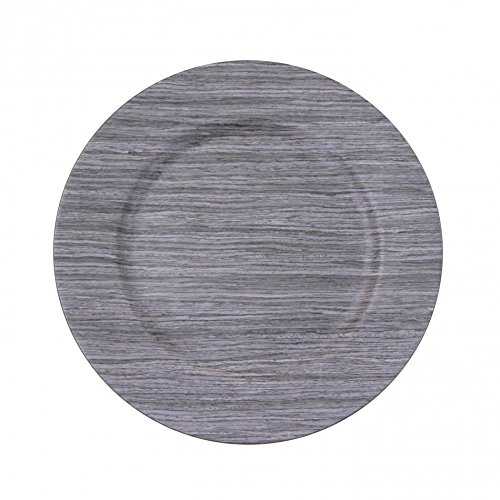 13'' Faux Wood Charger Plate (Set of 4) Color Driftwood Gray … by Koyal Wholesale (Image #1)