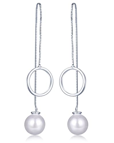 Infinite U 925 Sterling Silver 9mm Pearl Threader Long Drops Dangles Pull Through Chain Earrings for Women/Girls, Silver