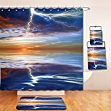 Nalahome Bath Suit: Showercurtain Bathrug Bathtowel Handtowel Lake House Decor Lightning over the Sea with Reflections Storm Theme Mother Earth Zen Decor Image Orange Blue