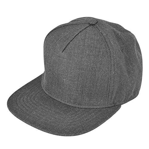 DALIX Premium 5 Panel Wool Blend Hat Flat Bill Cap Snapback (Dark Gray) ()