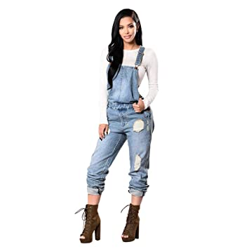 db755bf0affa Image Unavailable. Image not available for. Color  Women Hole Denim Bib  Slim Pants Overalls Jeans Straps Demin Trousers Jumpsuit ...