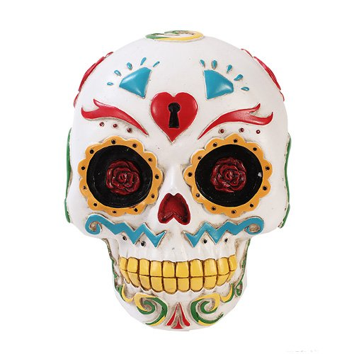 (Bright White Day of The Dead Sugar Skull Wall Plaque Decor Dias De Los Muertos)