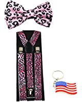 "Suspender & Bowtie ""Pink Leopard"" Y-back Clip on Adjustable Free USA Keychain"