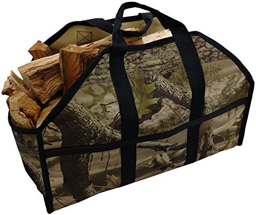 Ultimate Firewood Log Carrier by Grillinator: Back-Saving Design, PVC Canvas & (Camo)