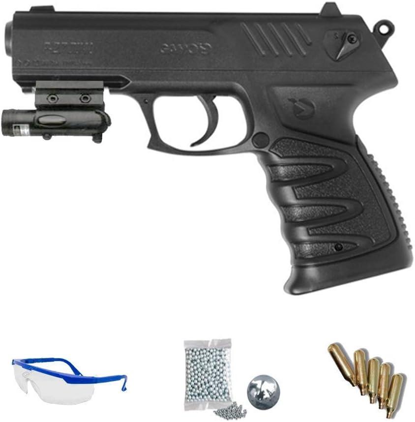Kit Gamo P-27 Dual LÁSER | Pistola de Aire comprimido (CO2) Tipo Dual: bb's de Acero y perdigones o balines <3,5J