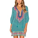 Snowfoller Women V-Neck Loose Top Fashion Half Sleeves Geometric Pattern Vintage Print Summer Beach Dress Cover Ups (S, Green)