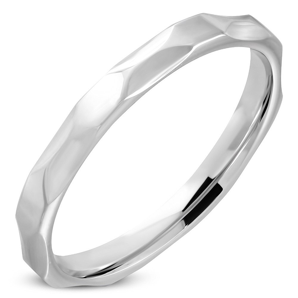 RRR309 Stainless Steel Faceted Comfort Fit Wedding Band Ring 3mm