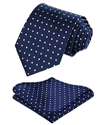 BIYINI Mens Tie Polka Dot Necktie and Pocket Square Set for Wedding -
