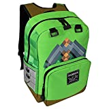 JINX Minecraft Pickaxe Adventure Kids Backpack (Green, 17'') for School, Camping, Travel, Outdoors & Fun (Green, N/A)