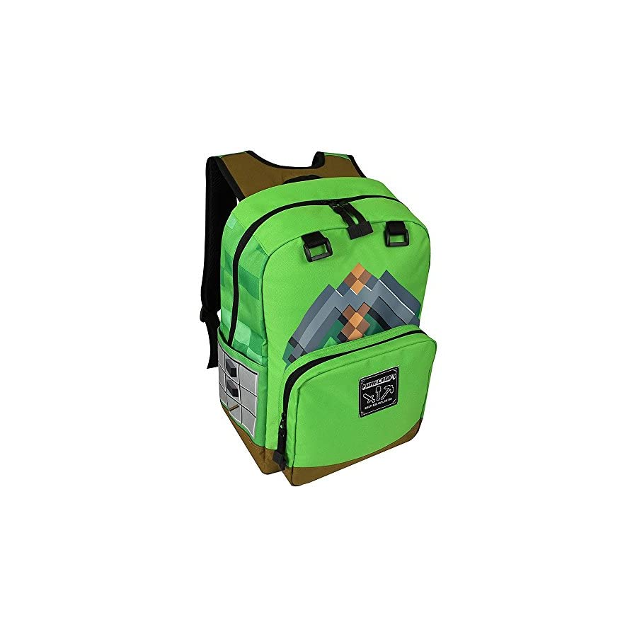 "JINX Minecraft Pickaxe Adventure Kids Backpack (Green, 17"") for School, Camping, Travel, Outdoors & Fun (Green, N/A)"